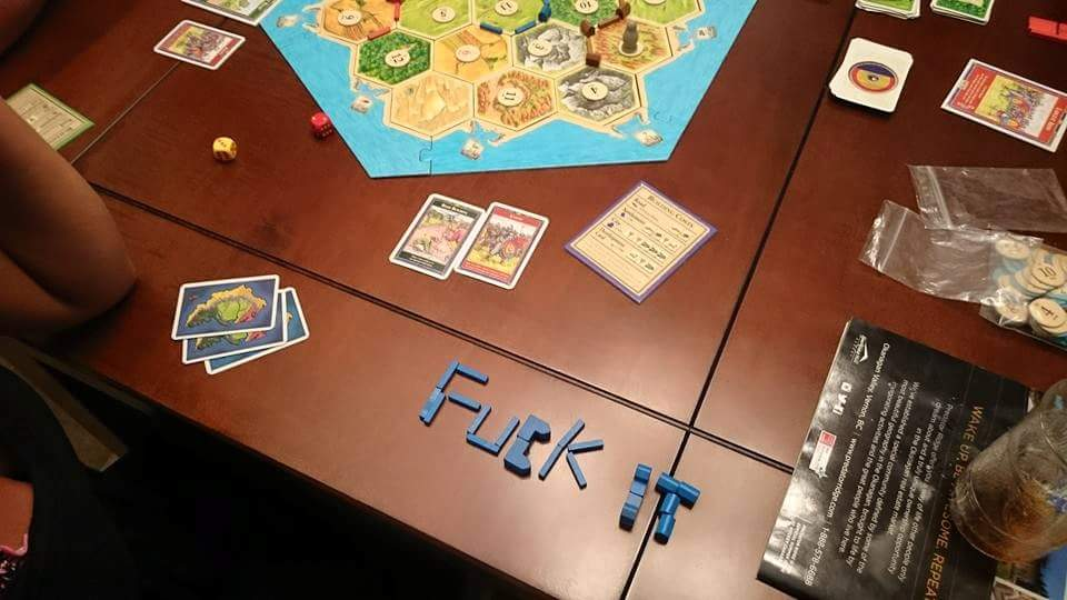 When you realize that there is no way you're going to win this game of Catan